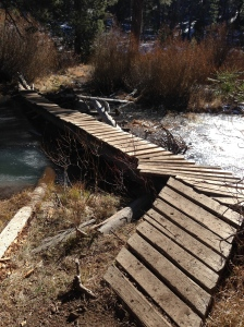 homemade bridges, some more rickety then others.