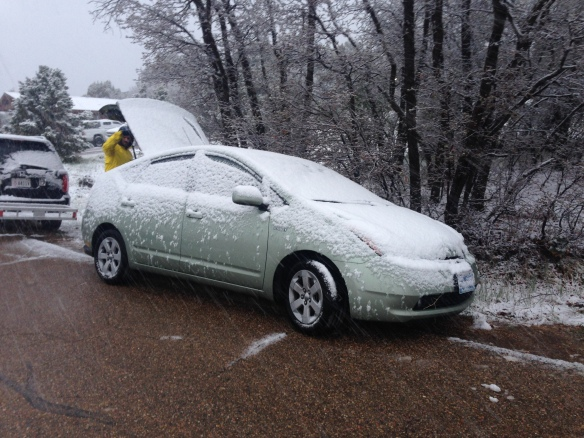 Snow on the prius. Luckily the concrete roads were clear