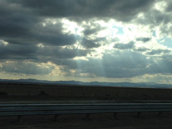 Beautiful clouds and rays of sunshine on the way home
